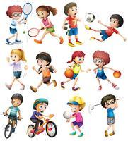 Crianças, fazendo, diferente, esportes vetor