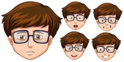 Homem com cinco diferentes expressões faciais vetor