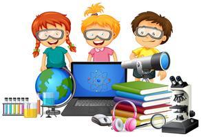 Estudante, com, escola, elemento vetor