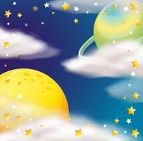 Cena do espaço com planetas e estrelas vetor