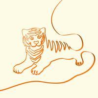 3D linha art tigre ilustração animal, ilustração vetorial