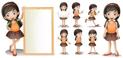 Modelo de placa com a menina em diferentes ações vetor