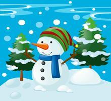 Cena de inverno com boneco de neve no campo vetor
