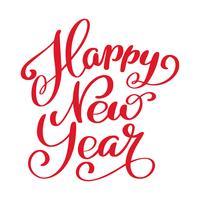 Feliz ano novo texto de mão-rotulação. Caligrafia artesanal de vetor