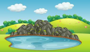 Uma paisagem do lago natureza vetor