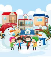 Crianças e boneco de neve na aldeia vetor