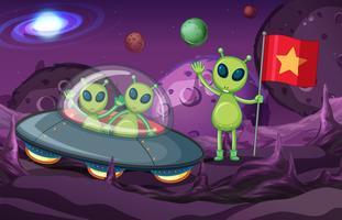 Aliens em UFO explorando o espaço vetor