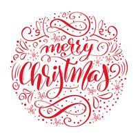 Texto manuscrito de feliz Natal. Caligrafia de mão desenhada e lettering em forma de círculo. Ilustração vetorial vetor