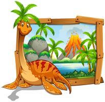 Moldura de madeira com dinossauro no lago