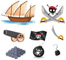 Pirata conjunto com veleiro e armas vetor
