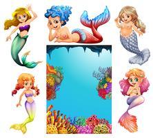 Cena subaquática com muitas sereias vetor