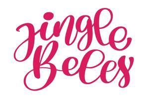 Jingle Bells inscrição caligráfica Feliz Natal cartão com. Modelo de saudações, parabéns, cartaz housewarming, convites, sobreposições de foto. Ilustração vetorial