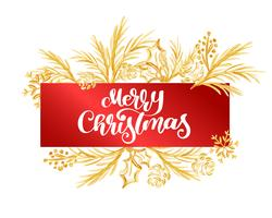 Feliz Natal do texto em um Tag vermelho no fundo de uma filial do ouro. Cartaz de tipo de Natal caligráfico de letras de mão
