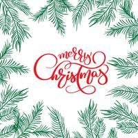 Texto da rotulação da caligrafia do Feliz Natal ee quadro com ramos de árvore do abeto. Ilustração vetorial
