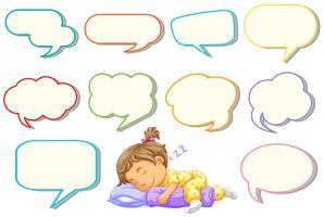Menina dormindo com balão de fala diferente