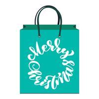 texto feliz Natal mão escrita letras de caligrafia na embalagem. ilustração vetorial artesanal. Tipografia de tinta pincel divertido para sobreposições de foto, saco, impressão de t-shirt, panfleto, design de cartaz