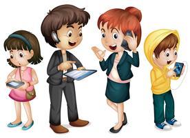 família usando tecnologia vetor
