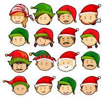 Pessoas, em, natal, chapéus vetor