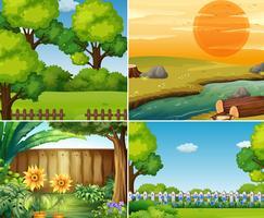 Quatro cenas de jardim com árvores vetor