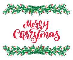O texto vermelho da rotulação da caligrafia do Feliz Natal e o vintage florescem o quadro verde dos ramos de árvore do abeto. Ilustração vetorial