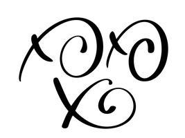 Xo-Xo-Xo caligrafia de Natal vetor cartão com letras de escova moderna. Banner para saudações de temporada de inverno