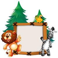 Modelo de quadro com Leão e Zebra