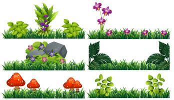 Plano de fundo sem emenda com flores no jardim vetor