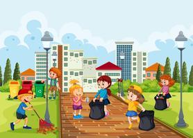 Crianças voluntárias limpando o parque vetor