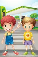 Dois garotinhos perto do posto de gasolina vetor