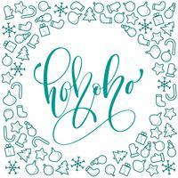 Ho-ho-ho caligrafia de Natal vetor cartão com letras de escova moderna. Banner para saudações de temporada de inverno