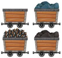 Carrinhos de mineração com pedras e bombas vetor
