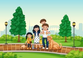 Família no parque vetor