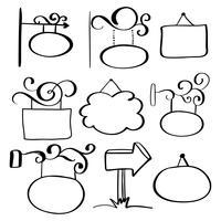 Conjunto de letreiros de doodle desenhados à mão sobre um fundo branco vetor