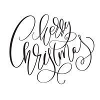Inscrição caligráfica feliz Natal com floreio. Ilustração vetorial vetor