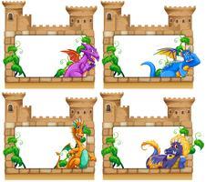 Design de moldura com dragão e castelo vetor