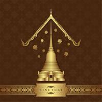 Templo de luxo de arte tailandesa e padrão de fundo