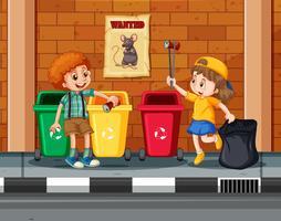 Crianças coletando e limpando a cidade vetor