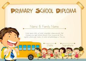 Modelo de diploma com crianças e schoolbus vetor