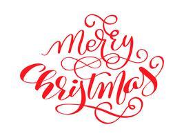 Texto caligráfico da rotulação do vetor vermelho do Feliz Natal para cartões do projeto. Poster de presente de saudação de feriado. Caligrafia moderna fonte