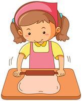 Garota rolando massa de farinha na placa de madeira vetor