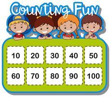 Planilha matemática para contar números vetor