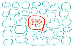 conjunto de handdrawn doodle bolhas para o seu texto. design para quadrinhos Frases de situação de fala. Ilustração vetorial