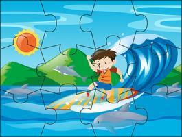Peças de quebra-cabeça para menino na prancha de surf vetor