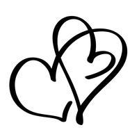 Coração de dois amantes. Caligrafia artesanal vector. Decoração para cartão, caneca, sobreposições de foto, impressão de t-shirt, panfleto, design de cartaz