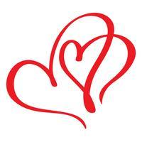 Dois amantes de coração vermelho. Caligrafia artesanal vector. Decoração para cartão, sobreposições de foto, impressão de t-shirt, panfleto, design de cartaz