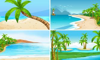 Cenas do oceano com coqueiros e ilha vetor