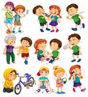 Crianças diferentes fazendo coisas ruins vetor