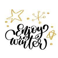caligrafia desfrutar de inverno cartão de feliz natal com. Modelo de saudações, parabéns, cartaz housewarming, convites, sobreposições de foto. Ilustração vetorial