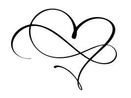 O coração e a infinidade do vintage para Valentim e dia do casamento vector a ilustração como o elemento do projeto. Tipografia de tinta pincel divertido para sobreposições de foto, impressão de t-shirt, panfleto, design de cartaz
