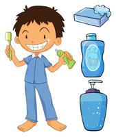 Menino, em, pijama, dentes escovando vetor